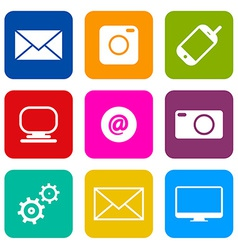 Technology internet communication icons set vector