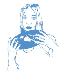 Girl with record vector
