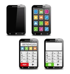 Modern black mobile phone vector