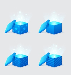 Magic light comes from the blue gift boxes vector
