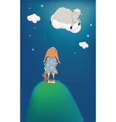 The girl lamb on a cloud vector