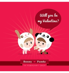 Cute kawaii characters with valentines concept vector