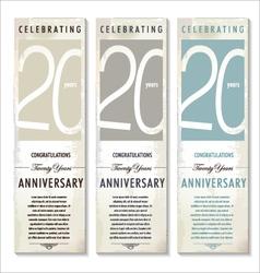 20 years anniversary retro banner set vector