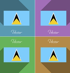 Flags saint lucia set of colors flat design and vector