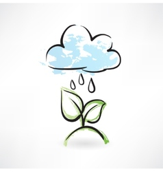 Rain and leafs grunge icon vector