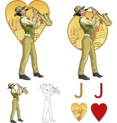 Jack of hearts mixed race musician mafia card set vector