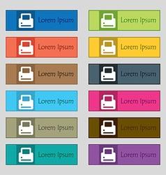 Printing icon sign set of twelve rectangular vector