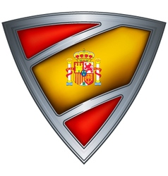 Steel shield with flag kingdom of spain vector
