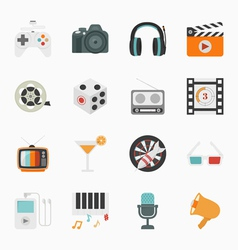 Entertainment icons with white background vector
