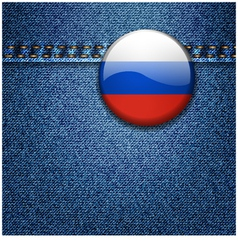 Russian federation flag badge on denim fabric text vector