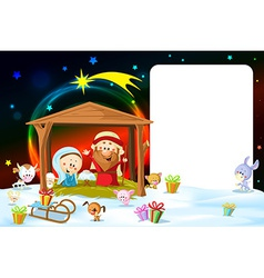 Christmas frame - nativity with lights and cute vector
