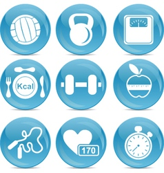 Gym and exercise icons vector