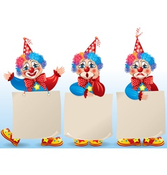 Clown with blank paper in different moods vector