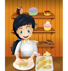 A happy mother preparing sandwiches vector