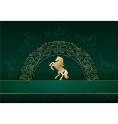 Horse silhouette on vintage floral background vector