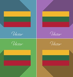 Flags lithuania set of colors flat design and long vector