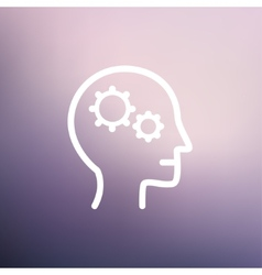 Human head with gear thin line icon vector