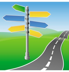 Road sign with different directions vector