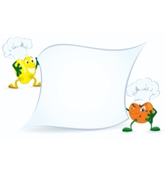 Lemon and orange in chef hat vector