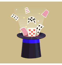 Magic trick retro cards and a hat vector