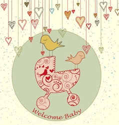 A cute card with birds holding a stroller and vector