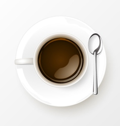 Cup of coffee with spoon vector