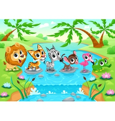 Funny animals in the jungle vector