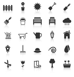 Gardening icons with reflect on white background vector