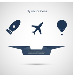 Flat icons aircraft missiles and balloon vector