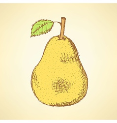 Sketch tasty pear in vintage style vector