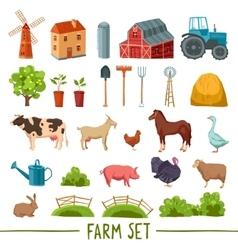 Farm multicolored icon set vector