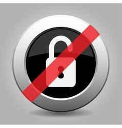 Gray chrome button - no open padlock vector