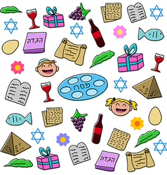 Passover holiday symbols pack vector