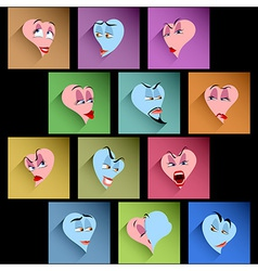 Set heart smile avatar icon emotion flat valentine vector