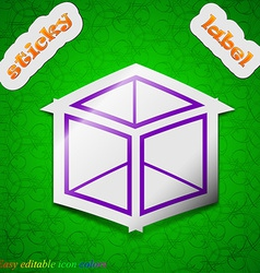 3d cube icon sign symbol chic colored sticky label vector