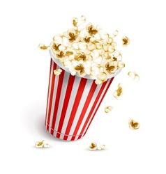 Paper glass full of popcorn vector