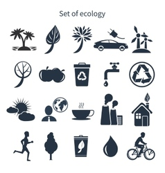 Green energy and ecology icon set vector