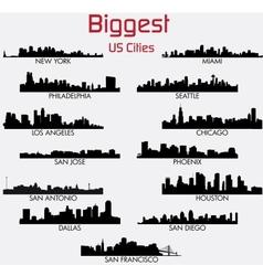 Set of biggest american cities skylines vector
