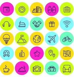 Set of icons of travel tourism vector