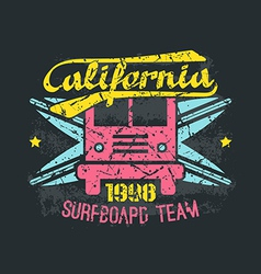 Surfing bus emblem in retro style vector