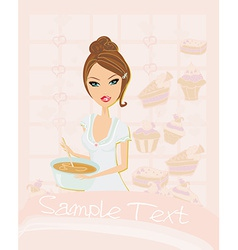 Beautiful lady cooking desserts vector