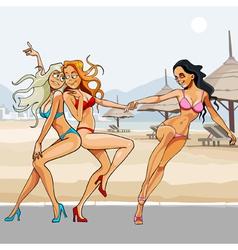 Cartoon beautiful girls in bikinis dancing vector