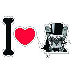 I love french bulldog old fashion gentleman style vector