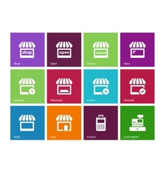 Shop icons on color background vector