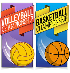 Basketball and volleyball banners isolated on vector