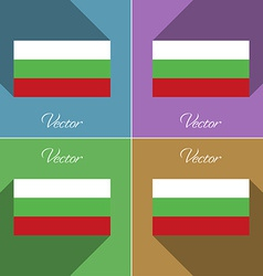 Flags bulgaria set of colors flat design and long vector