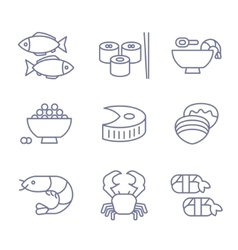 Seafood icons thin line style flat design vector