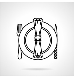 Table set black line icon vector