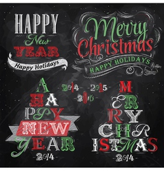 Set merry christmas happy chalk color vector