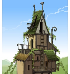 Cartoon fairy house overgrown plants vector